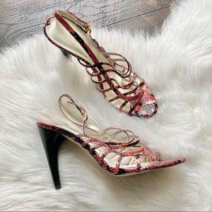 Via Spiga Strappy Heels Snakeskin Pink Leather